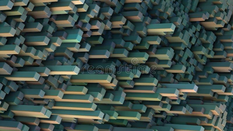 3D cubique abstrait a rendu le paysage illustration de vecteur