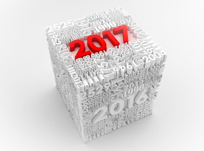 3D cubo del nuovo anno 2017 royalty illustrazione gratis