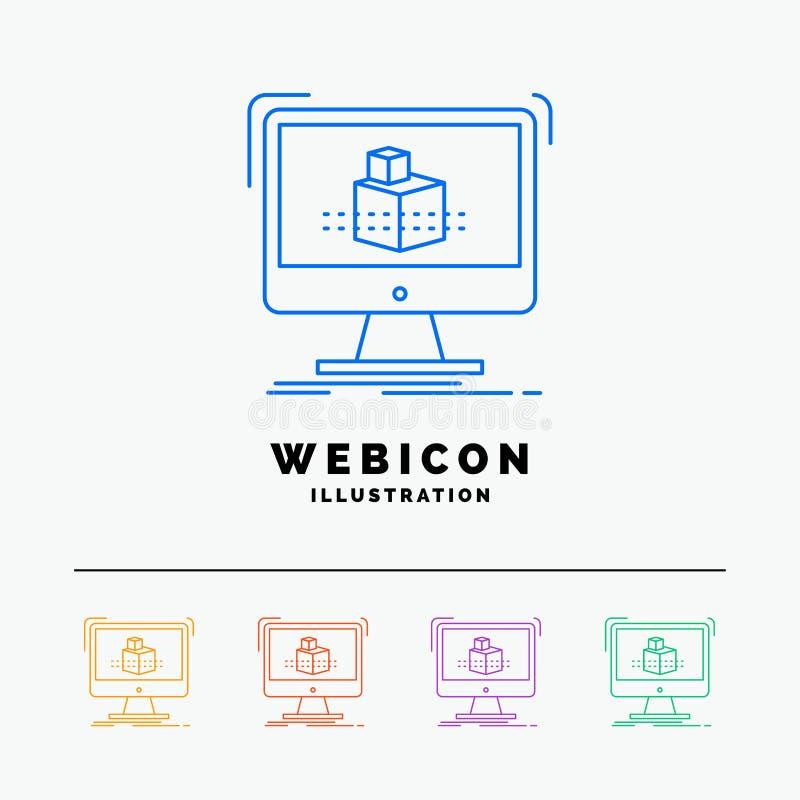 3d, cubo, dimensional, modelando, linha de cor molde do esboço 5 do ícone da Web isolado no branco Ilustra??o do vetor ilustração do vetor