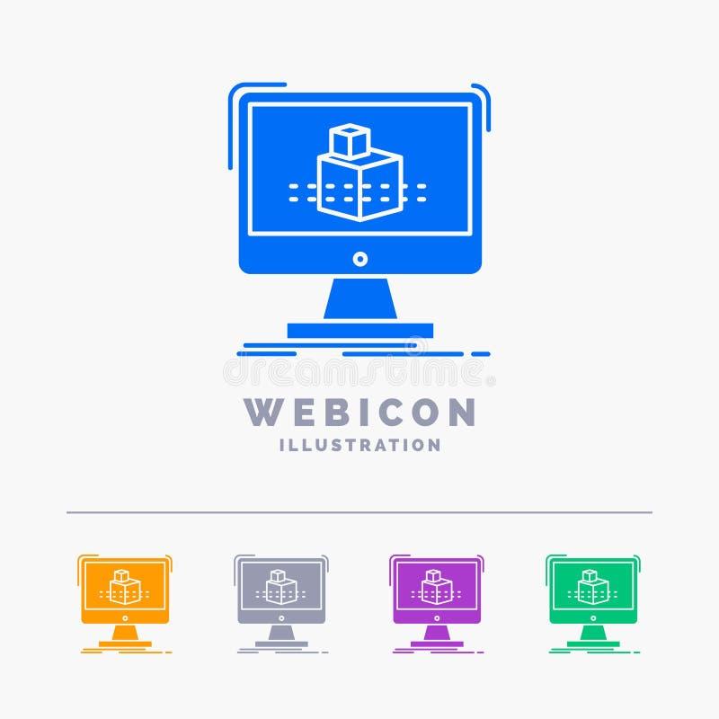 3d, cubo, dimensional, modelando, molde do ícone da Web do Glyph da cor do esboço 5 isolado no branco Ilustra??o do vetor ilustração stock