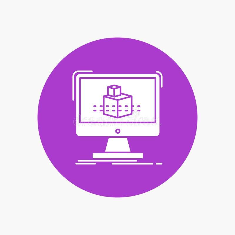 3d, cubo, dimensionale, modellante, icona bianca di glifo di schizzo nel cerchio Illustrazione del bottone di vettore illustrazione vettoriale