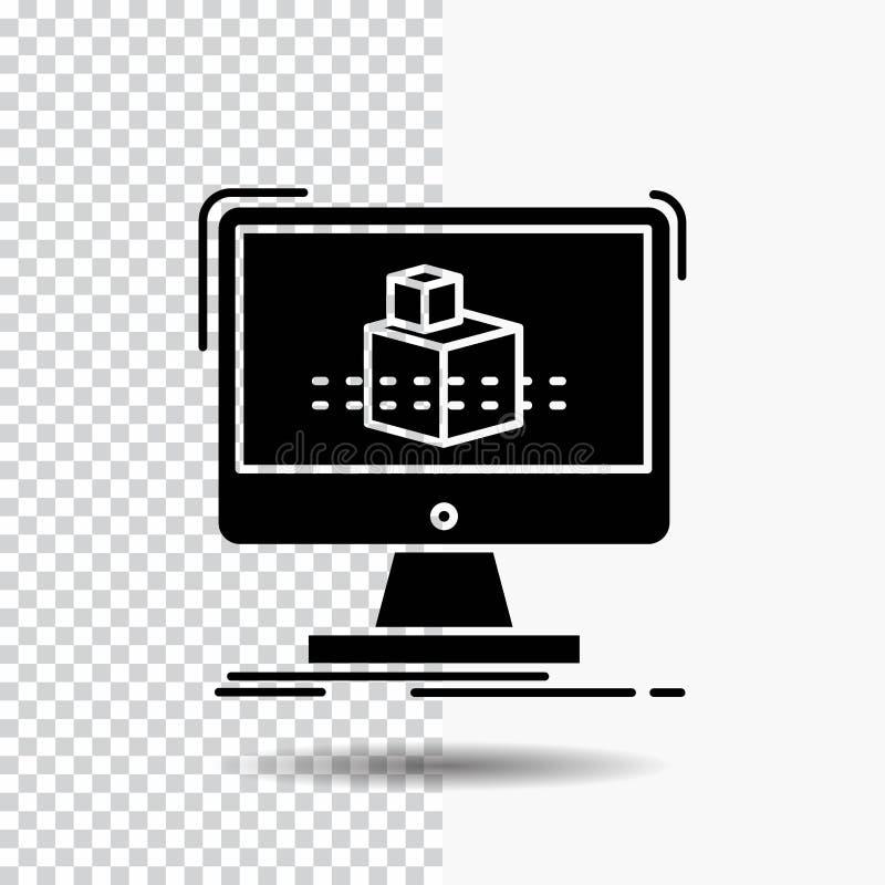3d, cubo, dimensionale, modellante, icona di glifo di schizzo su fondo trasparente Icona nera illustrazione vettoriale
