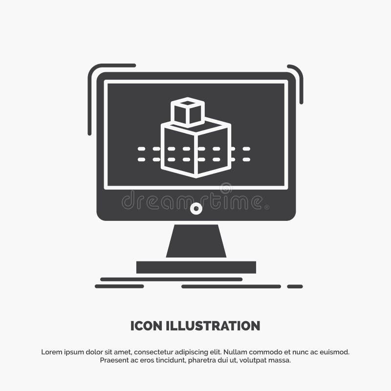 3d, cubo, dimensionale, modellante, icona di schizzo simbolo grigio di vettore di glifo per UI e UX, sito Web o applicazione mobi royalty illustrazione gratis