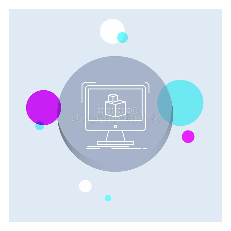 3d, cubo, dimensionale, modellante, linea bianca fondo variopinto di schizzo del cerchio dell'icona illustrazione di stock