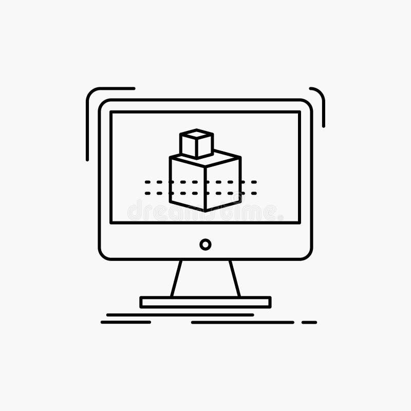 3d, cubo, dimensionale, modellante, linea icona di schizzo Illustrazione isolata vettore royalty illustrazione gratis