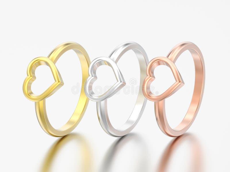3D cuore r di nozze di impegno dell'oro e dell'argento dell'illustrazione tre royalty illustrazione gratis