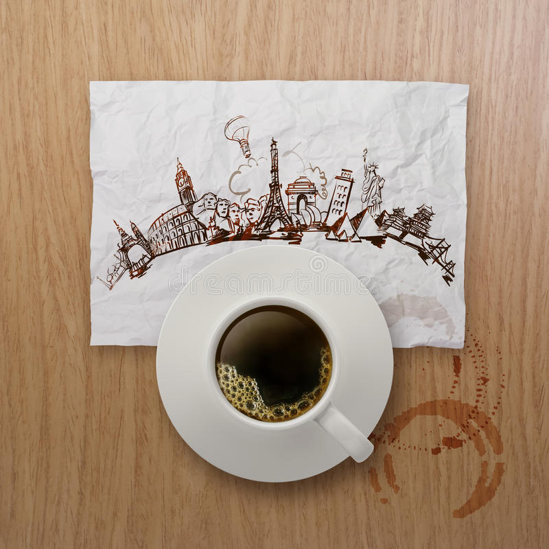 3d cup of coffee traveling around the world. On crumpled paper and wooden background as concept stock image