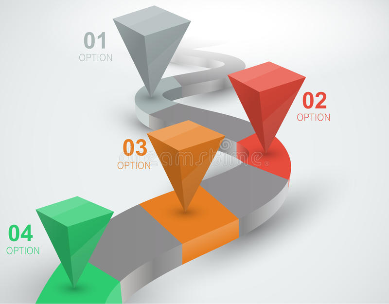 3d curved path with the distinguished points. For your data, vector creative infographics vector illustration