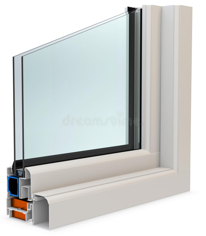 3d cut of window profile with glass surface stock illustration