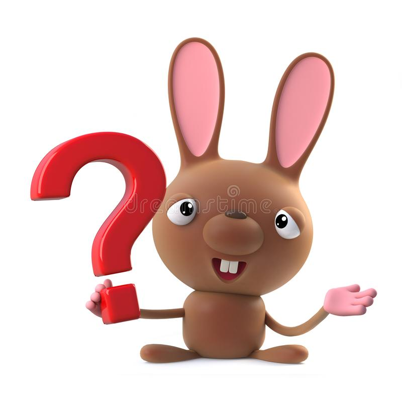 3d Cute cartoon Easter bunny rabbit character has a question to ask. stock illustration