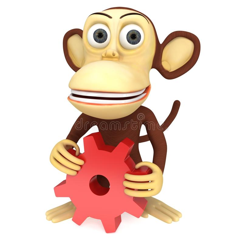 3d cute monkey with red gear stock illustration