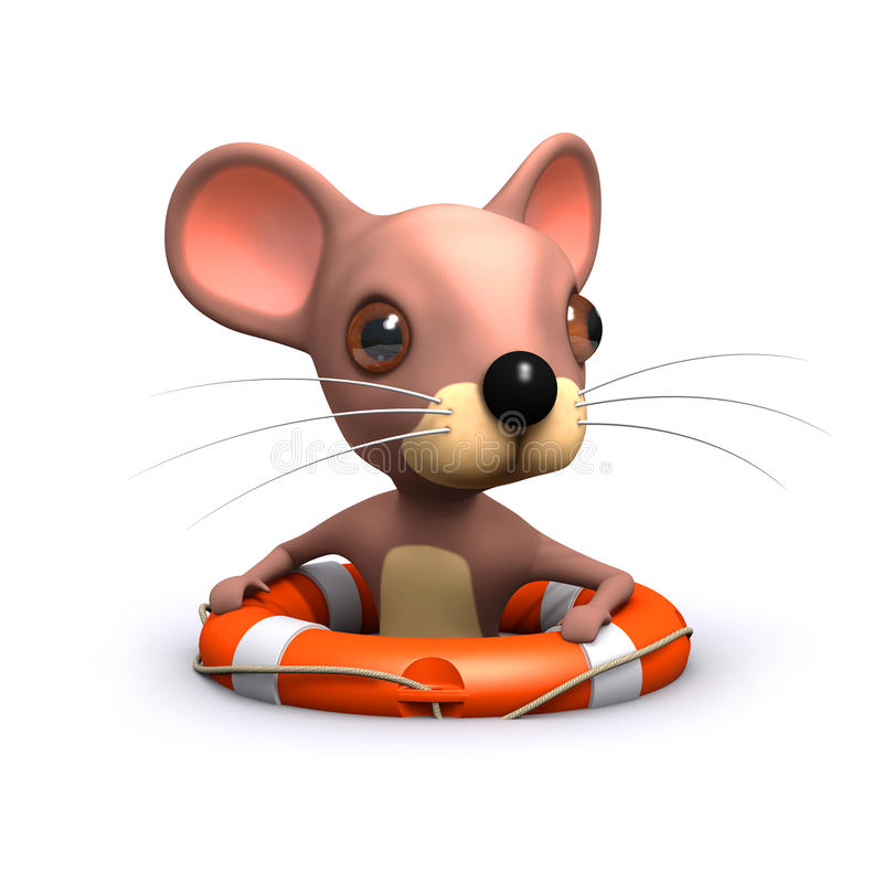 3d Cute mouse has been rescued stock illustration