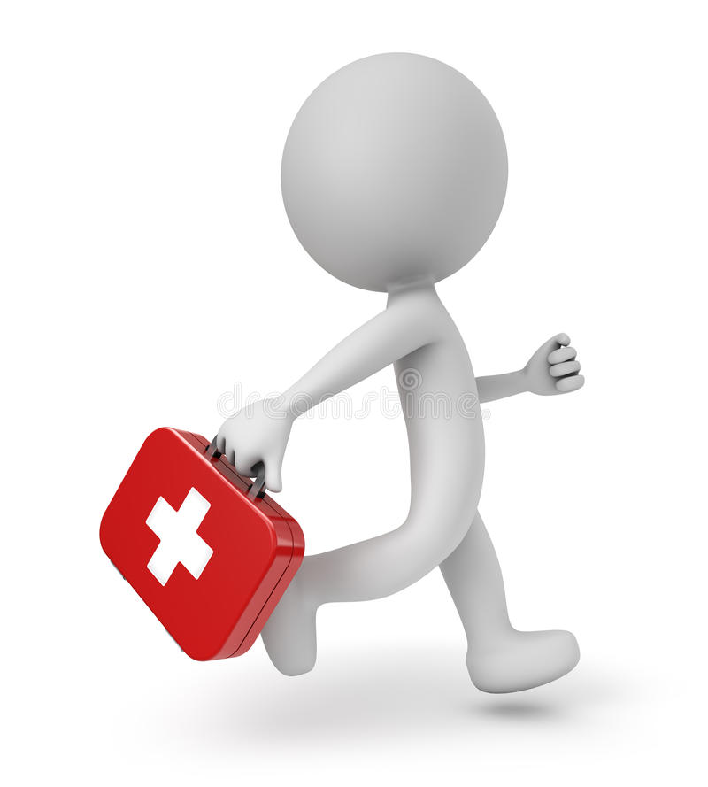 3d cute people- first aid kit. 3d cute people - running with a first aid kit white background royalty free illustration