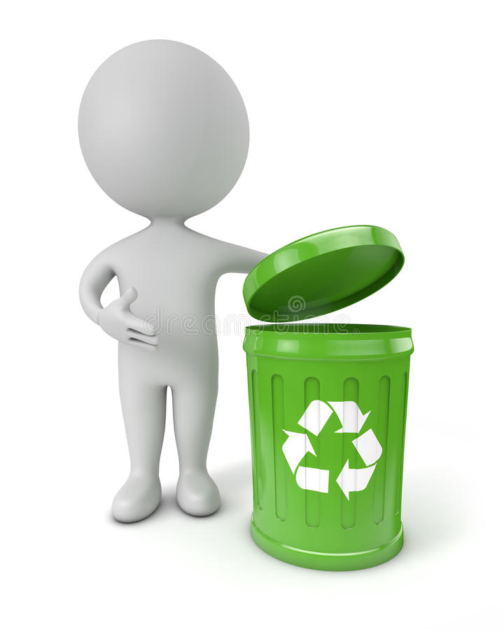 3d cute people - green recycling bin. White background stock illustration