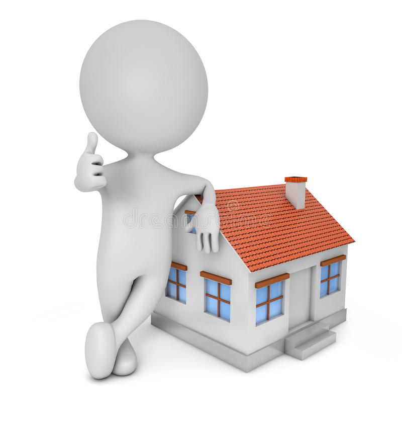 3d cute people - real estate royalty free illustration