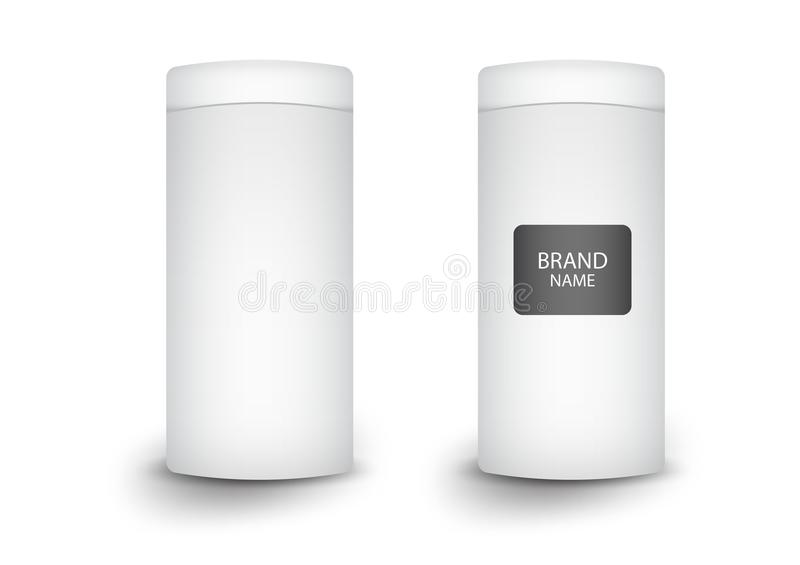 3d cylindrical box package, product design,Vector illustration. Food package, cosmetic product stock illustration