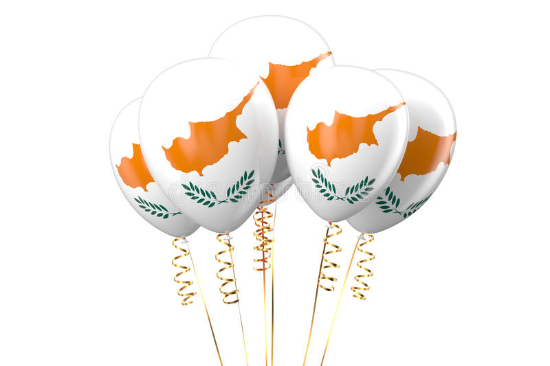 3D Cyprus patriotic balloons. Cyprus patriotic balloons, holiday concept stock illustration