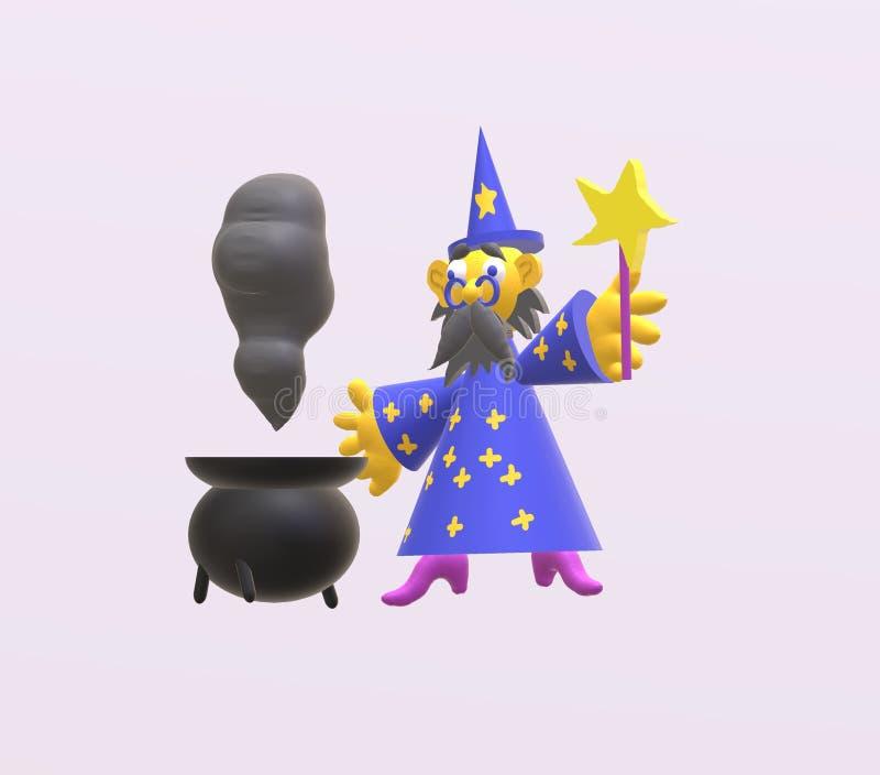 3d czarownik ilustracja wektor