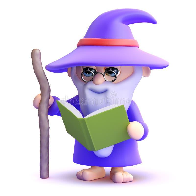 3d czarownik czyta książkę ilustracji
