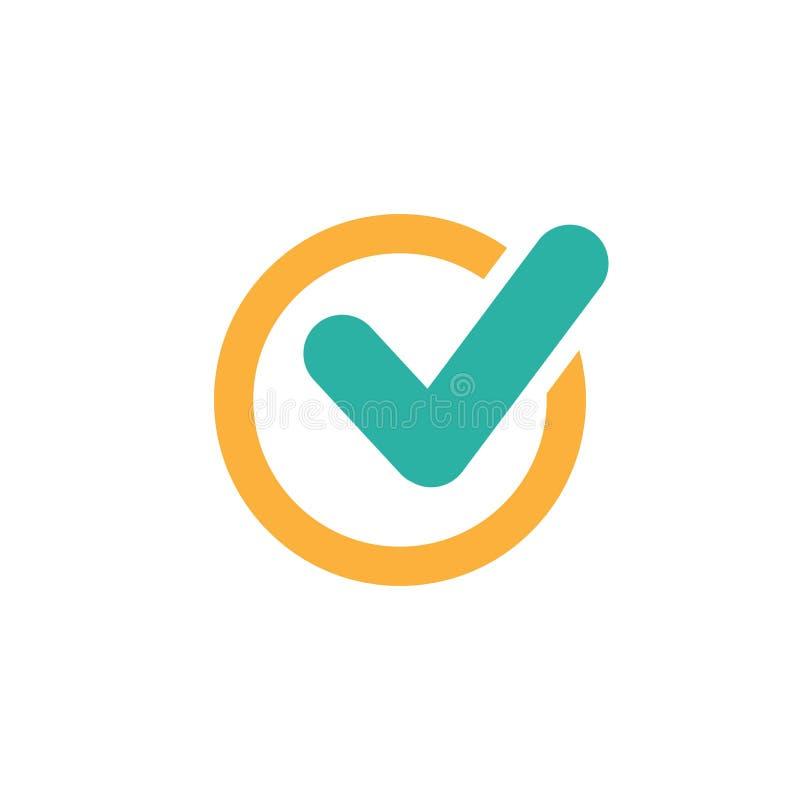 3d czek oceny obrazek odpłacał się Ważna foki ikona błękit zaokrąglający cwelich w pomarańczowym okręgu Płaska OK majcher ikona O royalty ilustracja