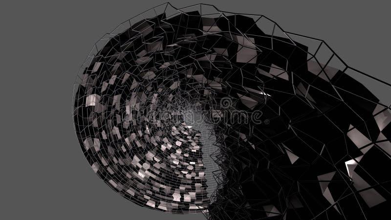 3d czerni powierzchnia jako 3d niski poli- abstrakcjonistyczny geometryczny tło z czarną siatką 4 ilustracja wektor