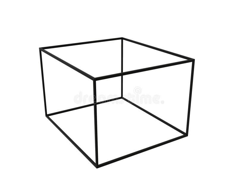 3D czerni Pusta Pudełkowata rama odizolowywająca na białym tle, przycina ilustracji