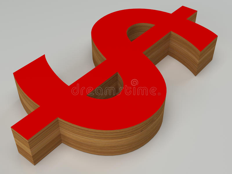 3d czerwień i drewniany dolarowy znak ilustracji