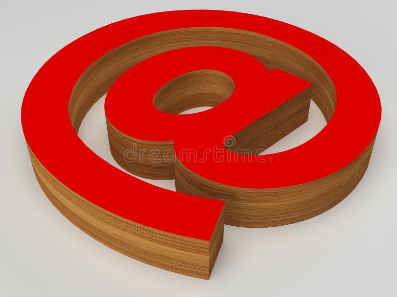 3d czerwień i email przy znakiem drewna @ ilustracji