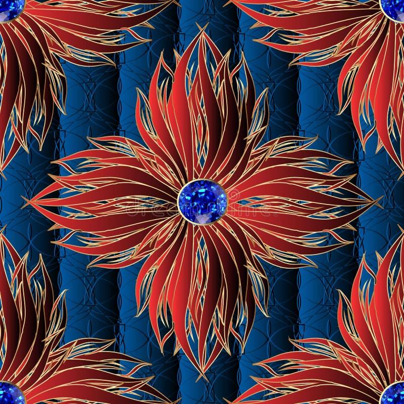 3d czerwień kwitnie biżuteria wektorowego bezszwowego wzór Textured ornamentacyjny zmrok - błękitny kwiecisty tło Elegancja ornam ilustracja wektor