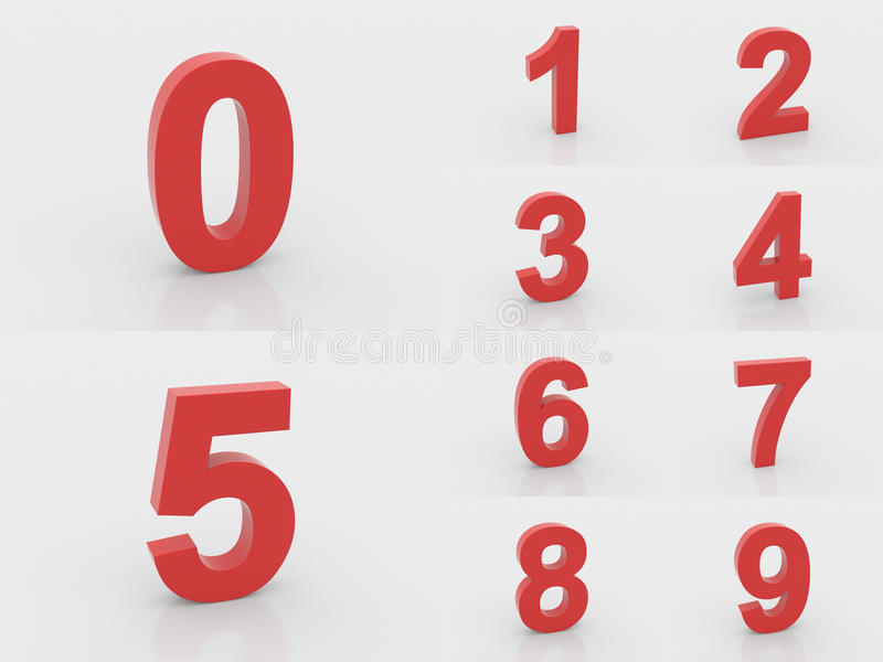 3d czerwieni liczby od (0) 9 zdjęcia royalty free