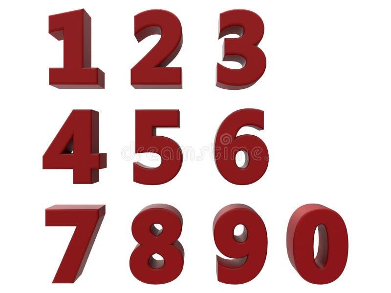 3D czerwieni liczby ustawiać ilustracja wektor