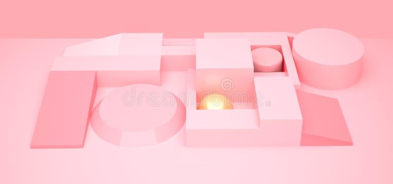 3d czerwieni tło Kształt 3d geometryczni przedmioty minimalista prosty tło Modna nowożytna ilustracja render geometryczny royalty ilustracja