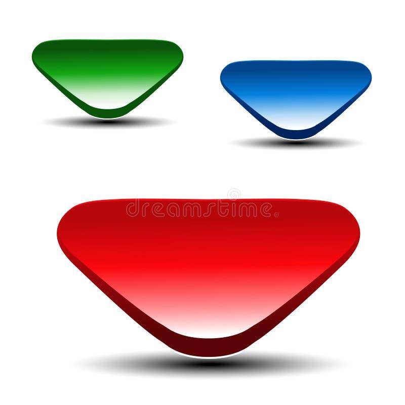 3d czerwieni, zieleni i błękita strzała na białym tle, Prości strzała guziki Sieć pointer lub połączenie Symbol następnie, czyta  royalty ilustracja