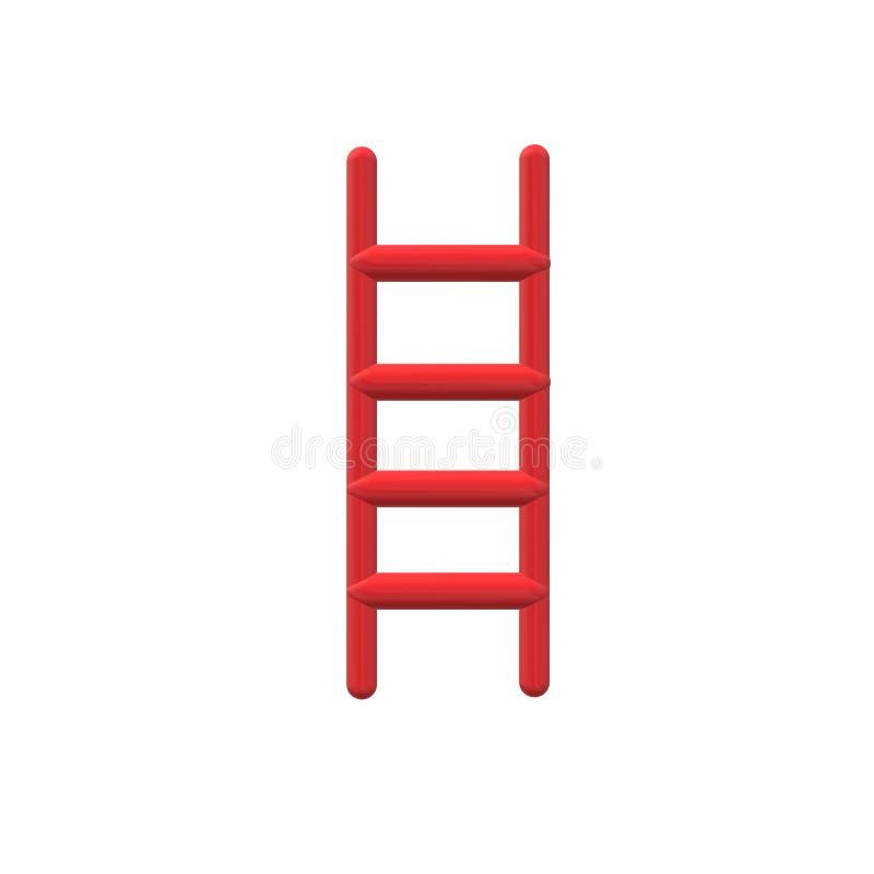3D czerwona drabinowa ikona na białym tle 3D czerwona drabinowa ikona dla twój strona internetowa projekta, logo, app, UI drabino royalty ilustracja
