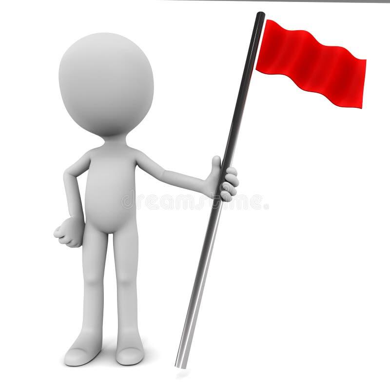 Czerwona flaga okaziciel ilustracji