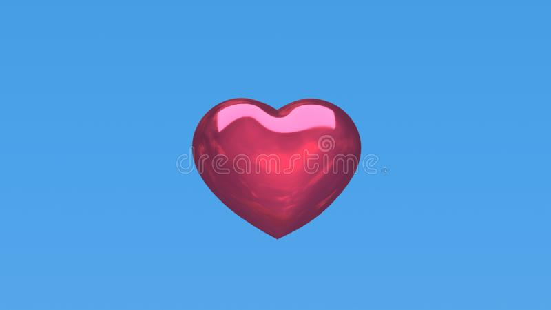 3d Czerwoni serca na błękitnym tle obrazy royalty free