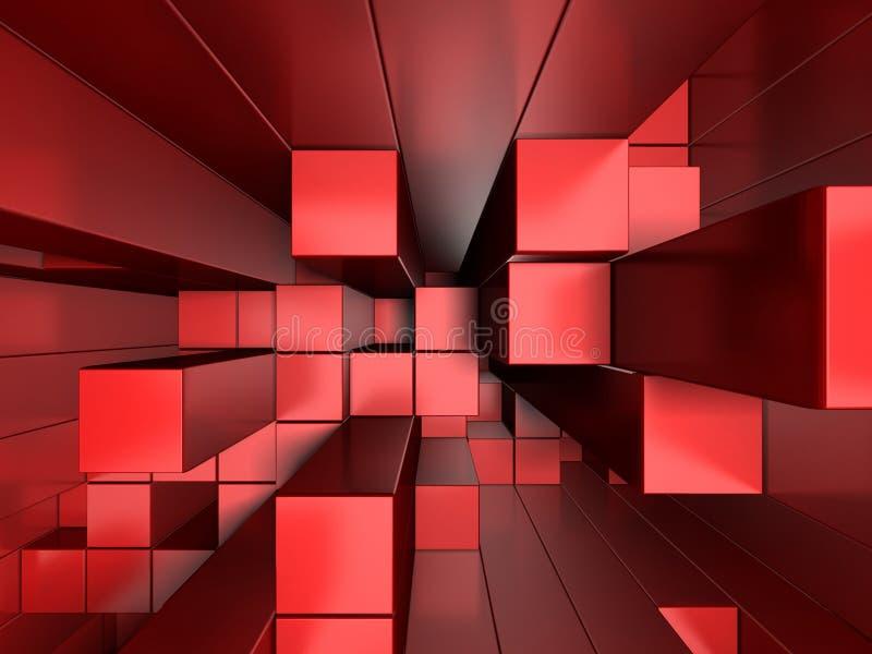 3d czerwony abstrakcjonistyczny tło sześciany ilustracja wektor