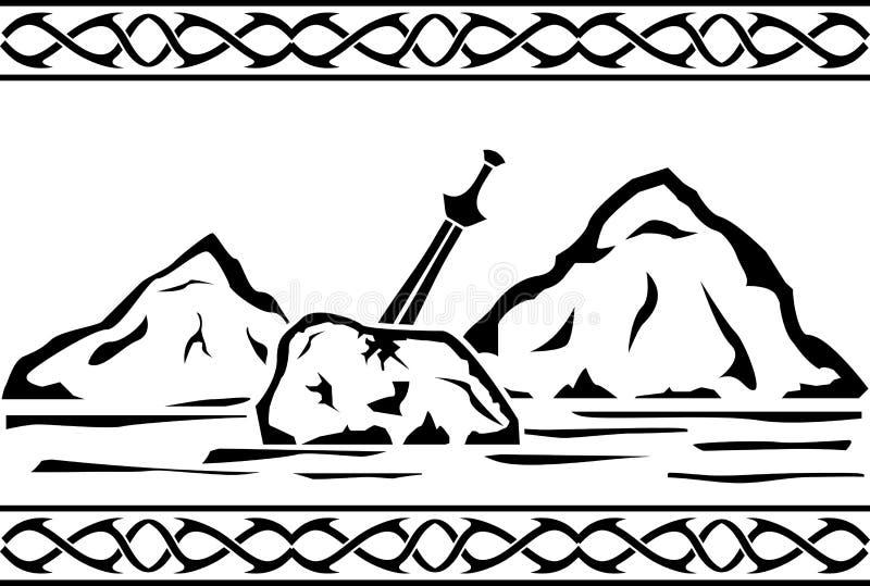 3 d czynią kamienny sunset miecz ilustracji