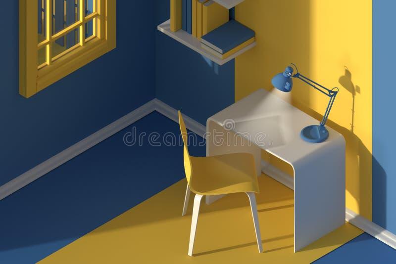 3 d czyni? Isometric widok wnętrze w minimalistic nowożytnym kreskówka stylu Pokój w wieczór świetle słonecznym z krzesłem, stół obrazy royalty free