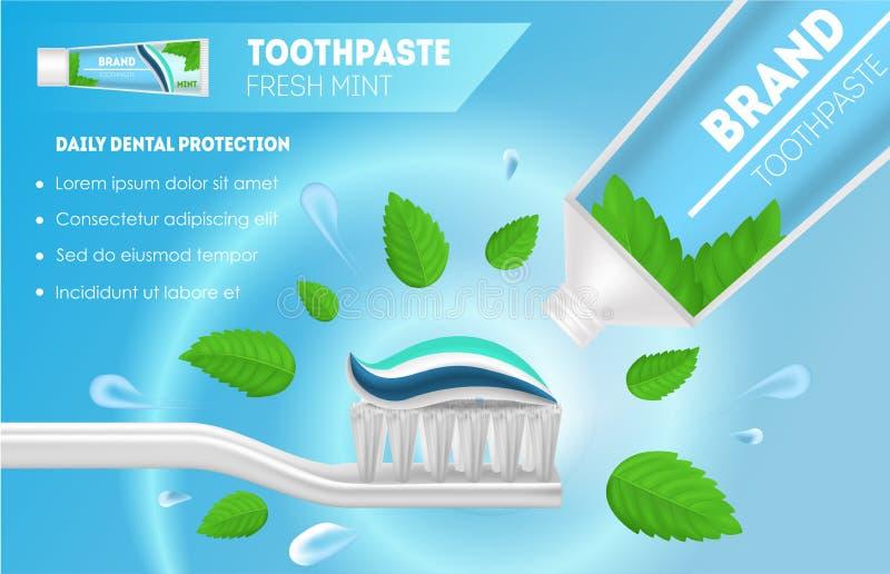 3d détaillé réaliste blanchissant des annonces de pâte dentifrice et de brosse à dents Vecteur illustration stock