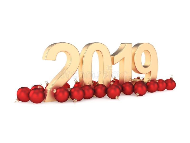 3D dígitos del oro del Año Nuevo de la representación 2019 libre illustration