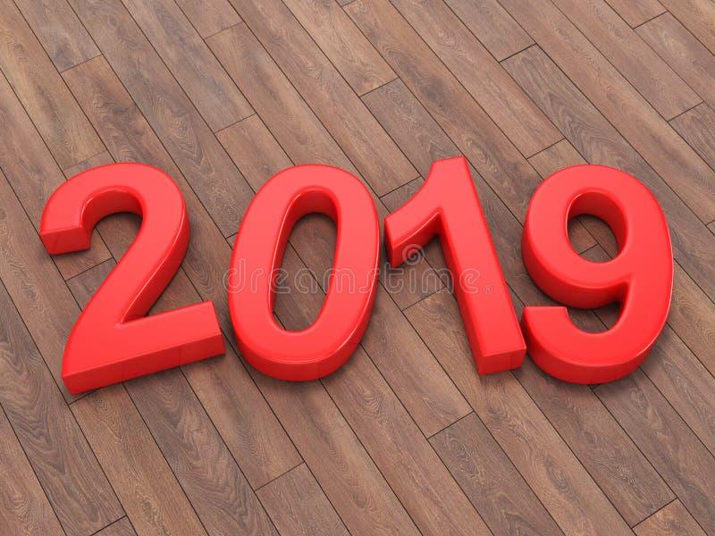 3D dígitos vermelhos do ano novo da rendição 2019 ilustração do vetor