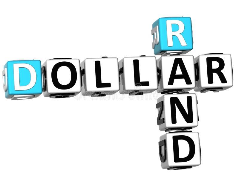 3D dólar Rand Crossword ilustração royalty free