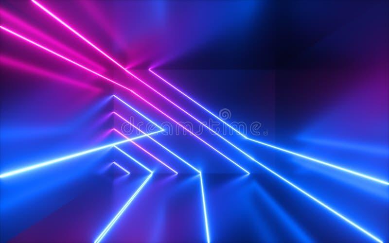 3d回报,变粉红色蓝色霓虹线,几何形状,真正空间,紫外光,20世纪80年代样式,减速火箭的迪斯科,时尚激光展示 向量例证