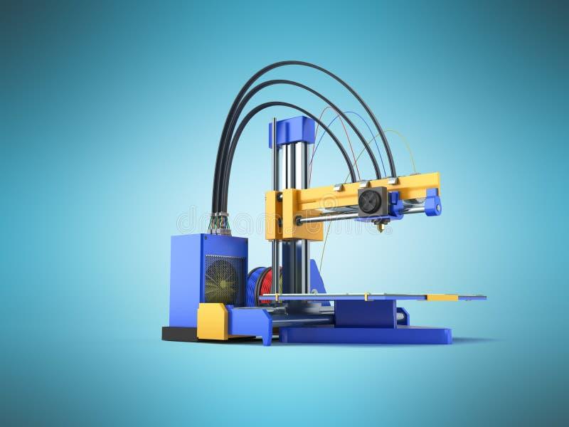 3D 3d drukarka odpłaca się na błękitnym tle ilustracji