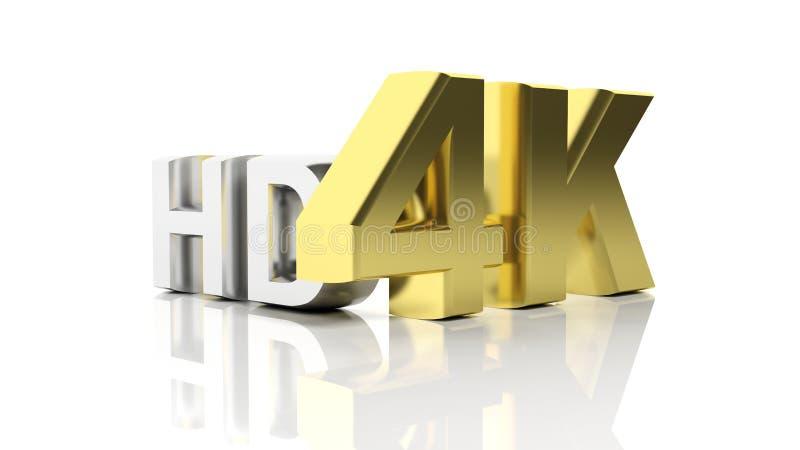 3D d'or 4K et argent HD illustration stock