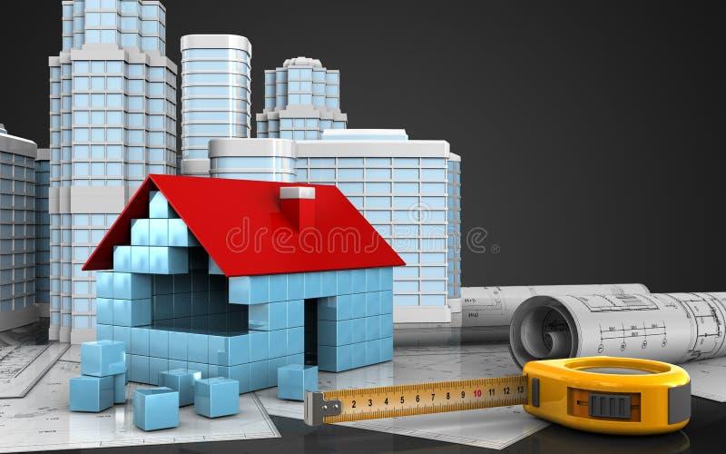 3d da casa obstrui a construção ilustração do vetor