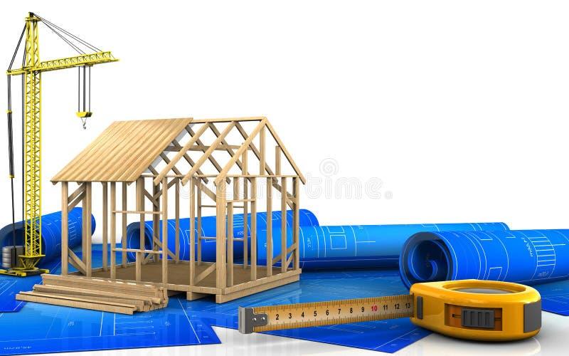 3d da construção da casa de quadro ilustração stock
