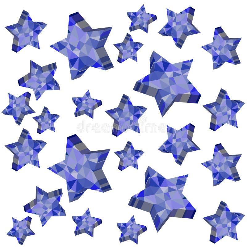 3D dalende die sterren op witte achtergrond worden geïsoleerd vector illustratie