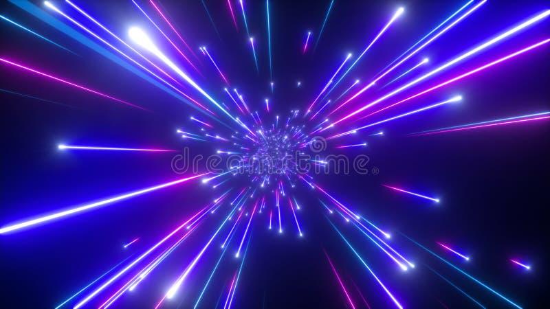 3d dalende sterren, grote klapmelkweg, vatten kosmische achtergrond samen, hemel, schoonheid van heelal, snelheid van licht, vuur stock illustratie